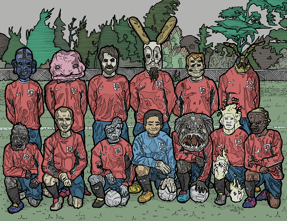 fantasy creatures football soccer illustration
