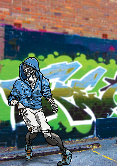 an illustration of a robot hip-hop dancer on a photograph of street art