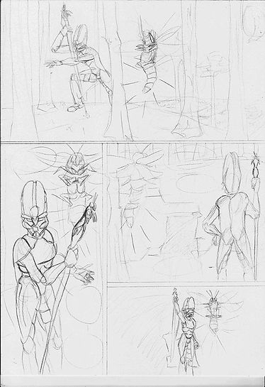 rough pencils of a comic page