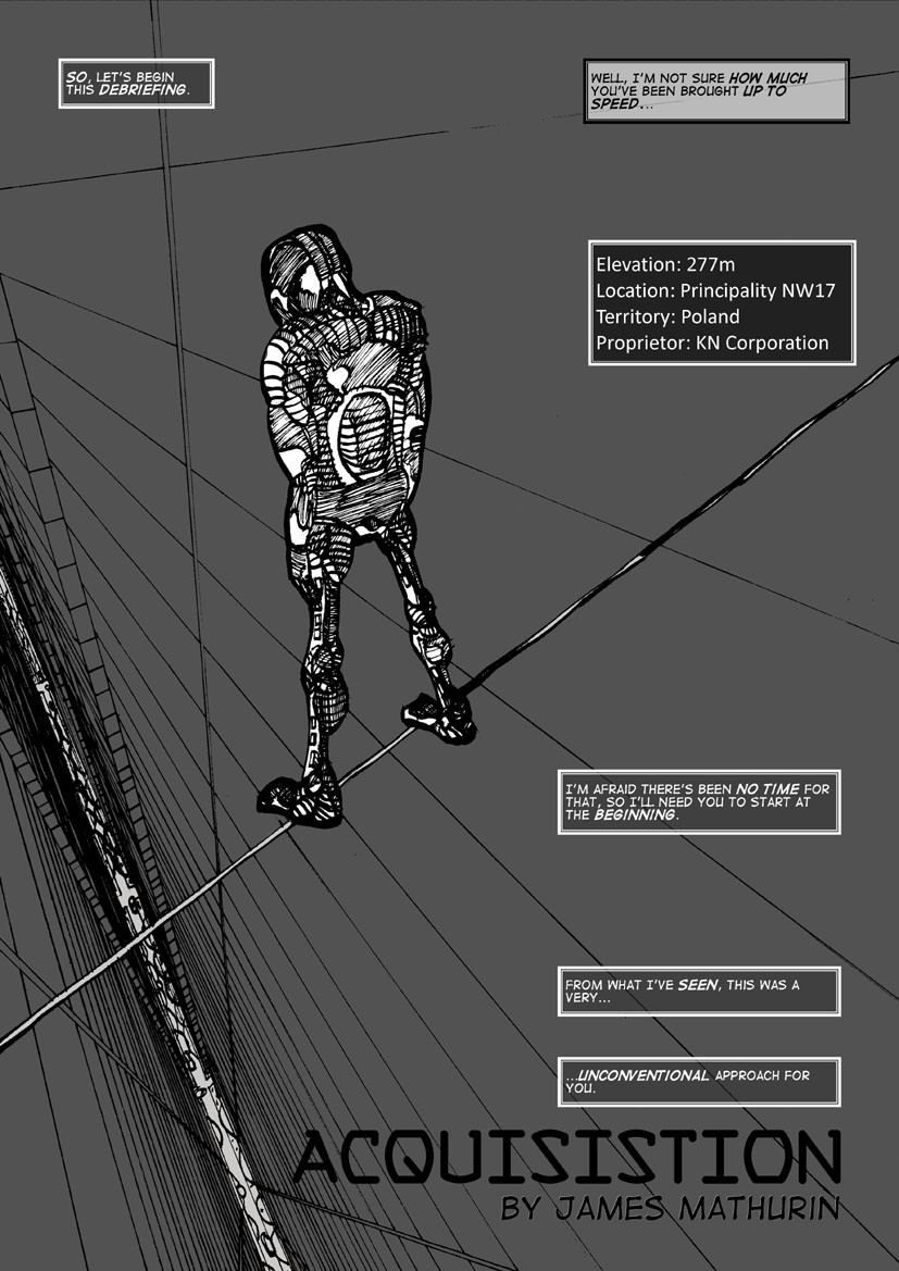 Grayscale finished version of Acquisition Page 1