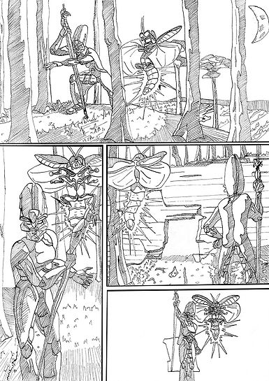 inking line art comic page