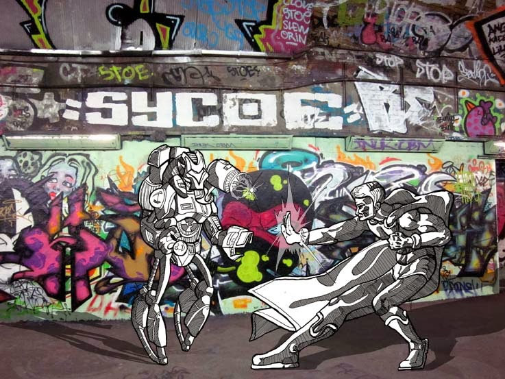 An illustration of a robot fghting a superhero in front of a photograph of graffiti in a tunnel