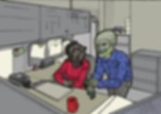 office fantasy creatures illustration