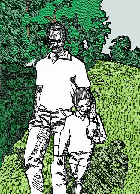 black fatherhood illustration dad and son