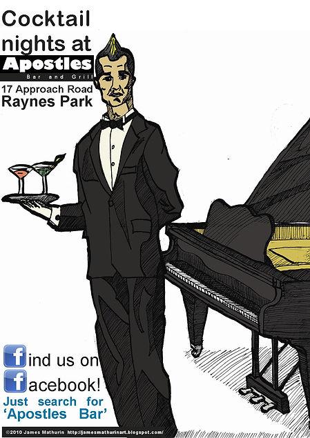 cocktail bar advert illustration