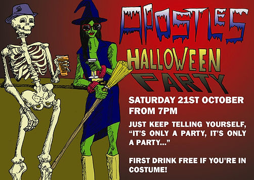 bar halloween party advert skeleton witch illustration