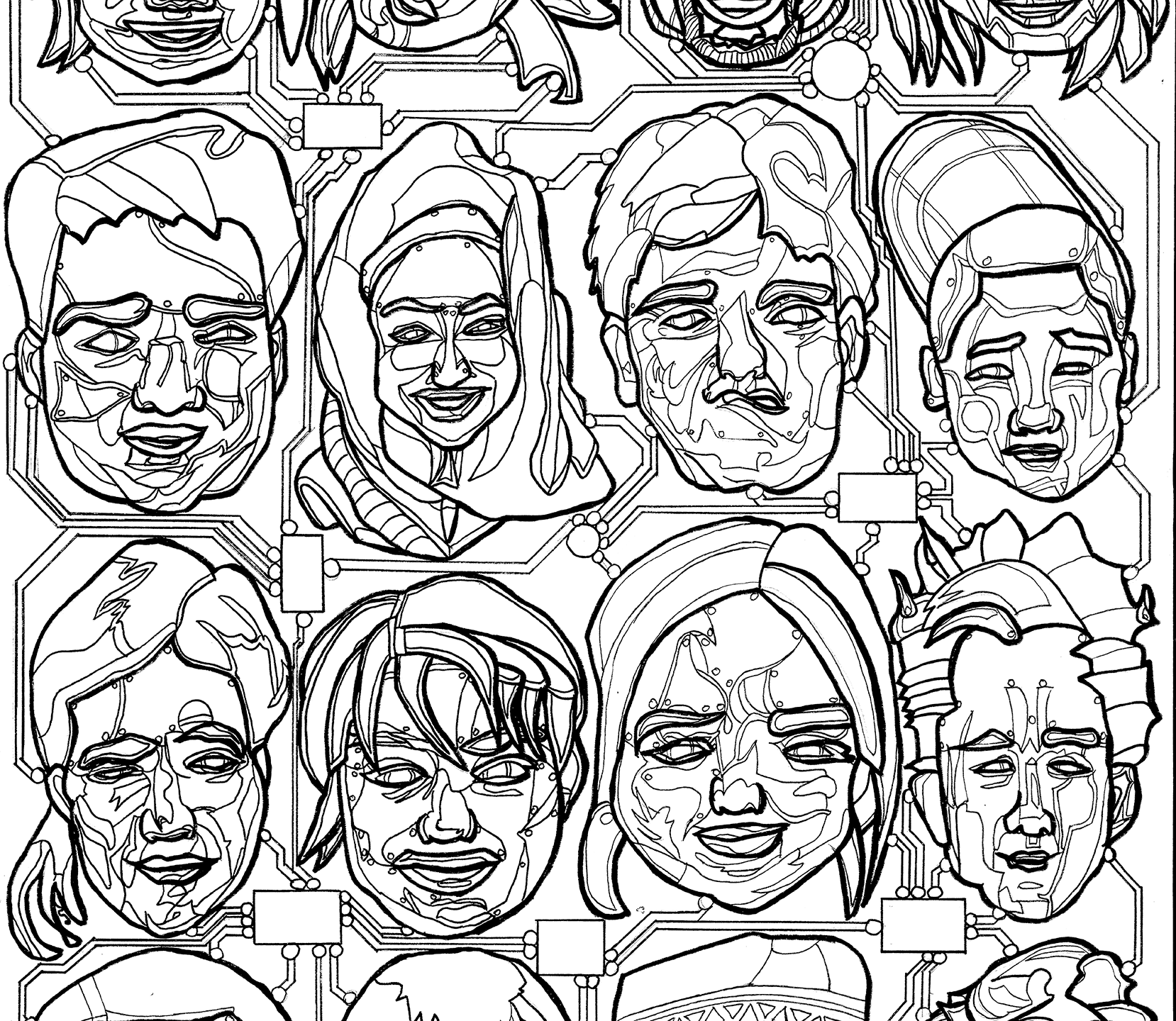 Faces first linework png