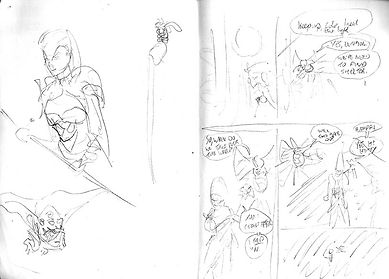 Comic charcter sketch and page layour