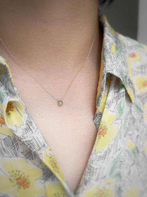 Floating Diamond Bezel necklace