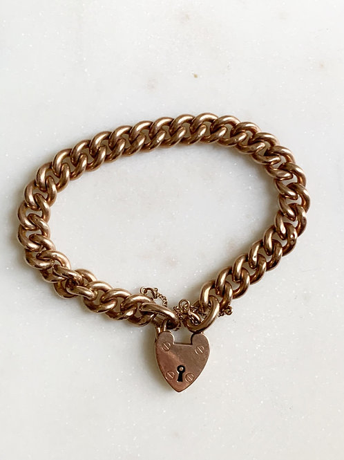 Victorian 9K padlock bracelet