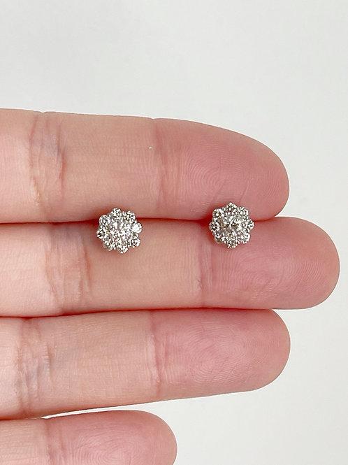 Diamond Flower Cluster Studs