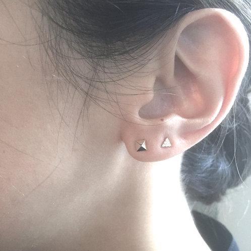 Pyramid + Mini Tri Mismatched Earrings