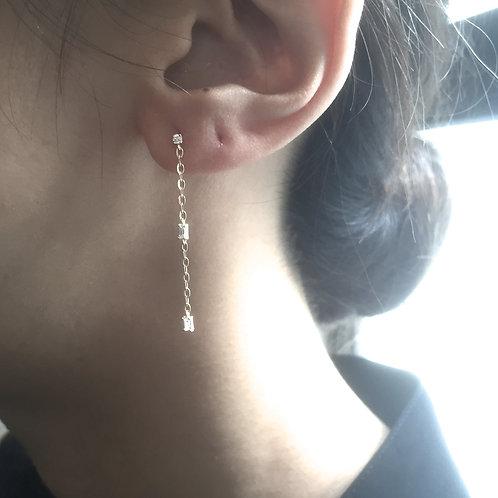 Emerald Chain Drop Earrings (=$113.00USD)
