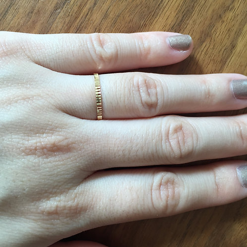 Thin Ridged Stacking Ring