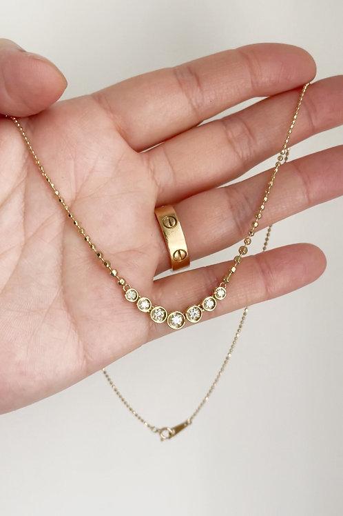 Graduated Diamond Bezel & Beaded Chain necklace