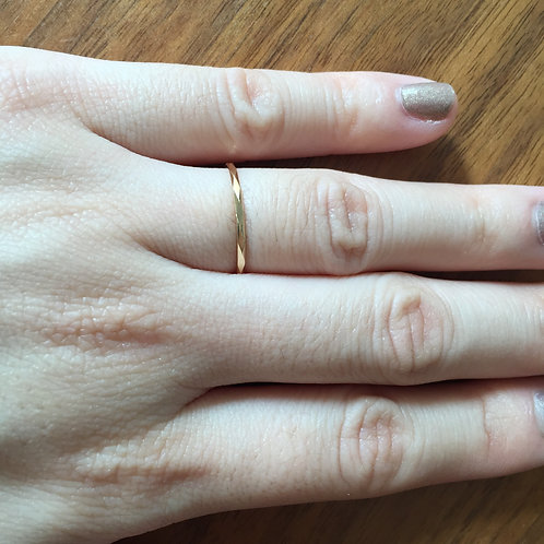 Thin Facetted Stacking Ring