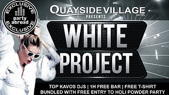 The White Project Party Kavos Corfu | Quayside Village Hotel Kavos | Quayside Beach Club Kavos | All White Theme Party Kavos | Party Under The Stars In Kavos Corfu