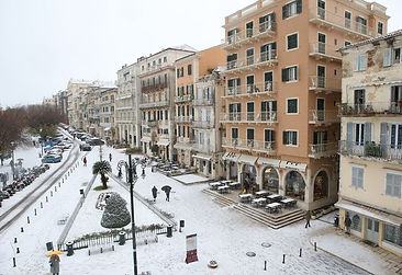 Liston Square at Corfu Looks Beautiful with snow 2019