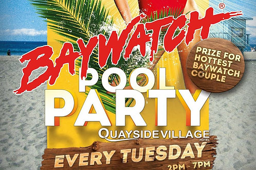 Sunbed Reservation | Baywatch Pool Party 2021 | Quayside Village Kavos