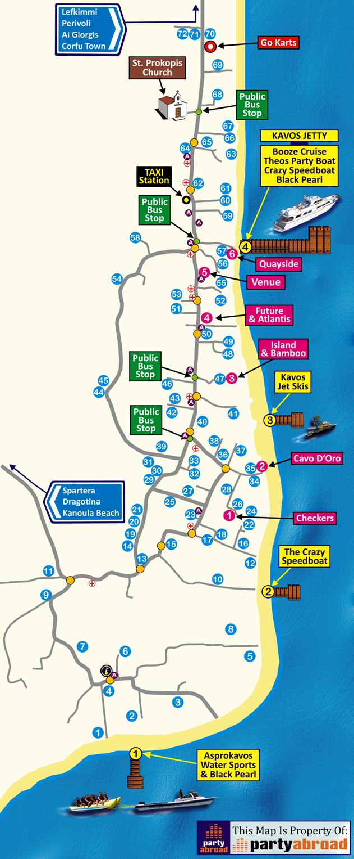 PartyAbroad Kavos Map