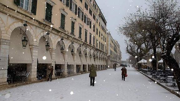 Snow at Liston Square on Corfu Island