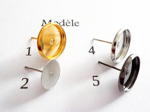 base boucle d'oreille 12 mm acier inoxidable