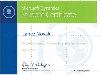 Microsoft Dynamics Student Certifikat