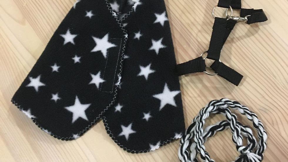 Musta tähtikuvioinen loimi, riimu ja riimunaru -setti keppiponille