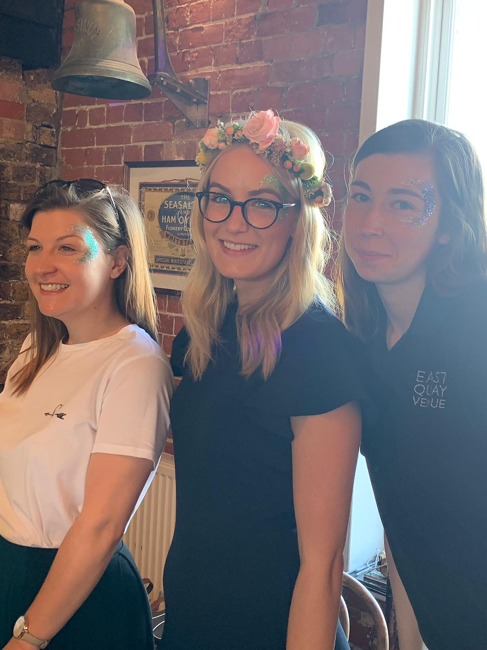 East Quay Venue's Staff with Luxurious Glitter Wedding Glitter Bar