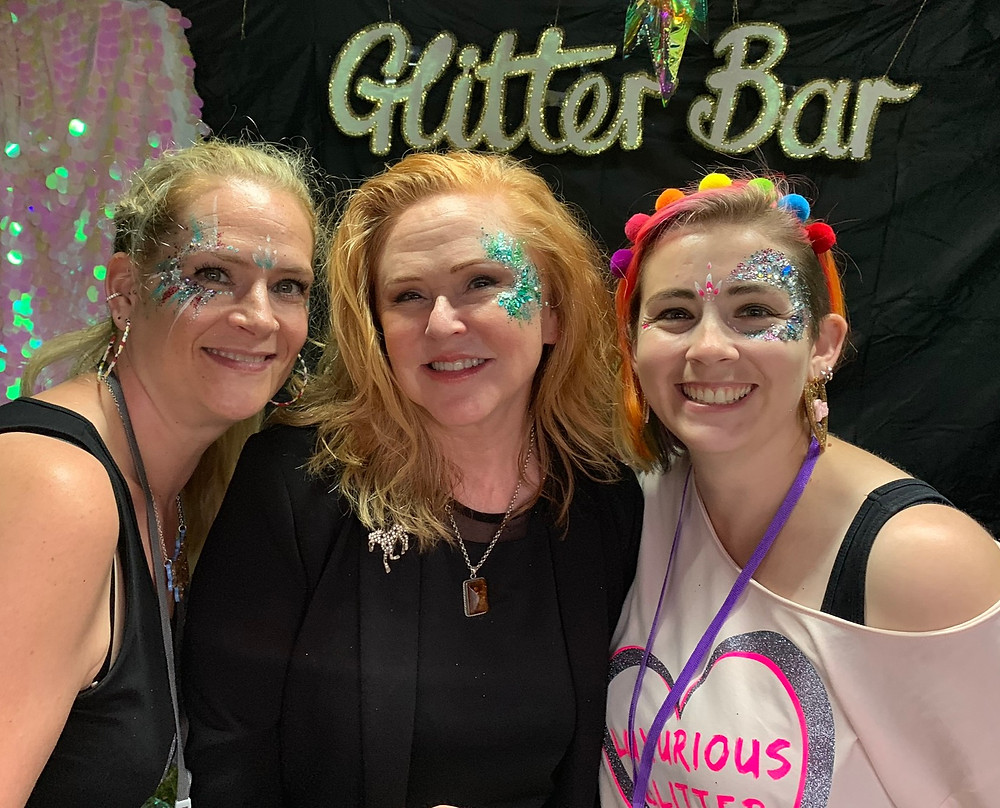 Emma, Carol Decker from T'Pau and Claire from Luxurious Glitter smiling for the camera in their eco glitter!
