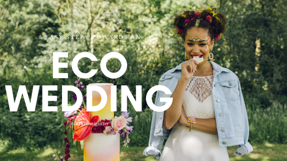 Eco wedding photoshoot with Luxurious Glitter glitter bar. Cake by Tiny Sarah's Cakes and photo by Chloe Lee Photography