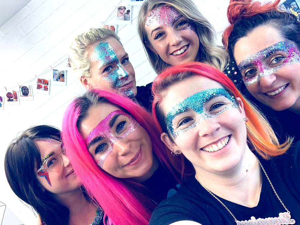 Sophie, Claire, Holly, Emma & Naomi of Luxurious Glitter & Eco Glitter Fun with glittered faces