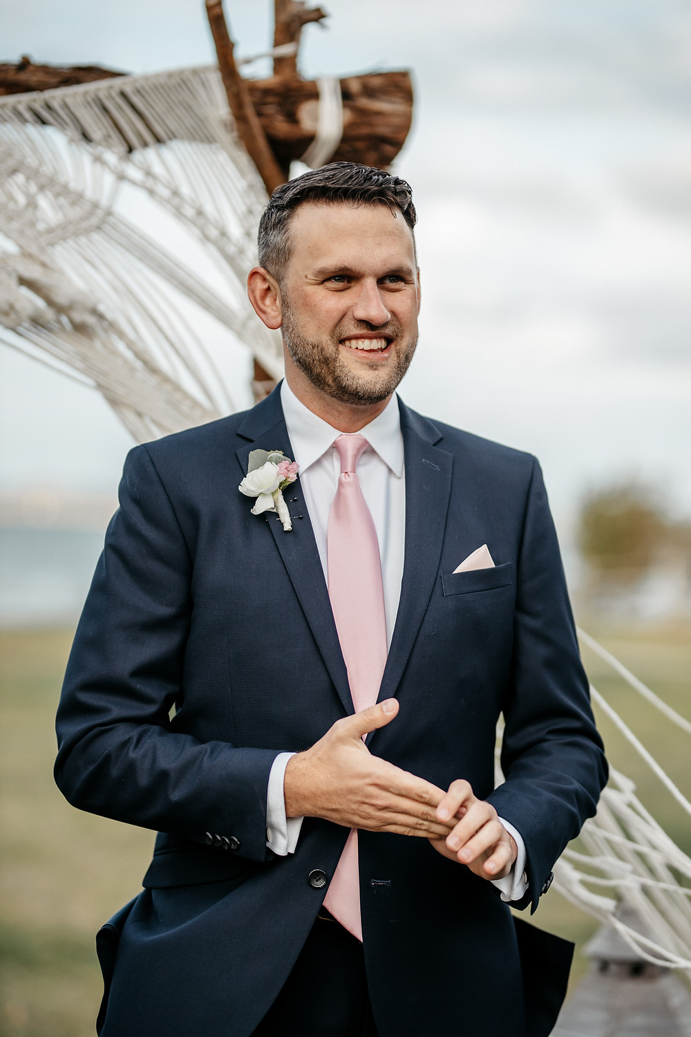 Groom has first look at the aisle with bride in Austin before exchanging wedding vows