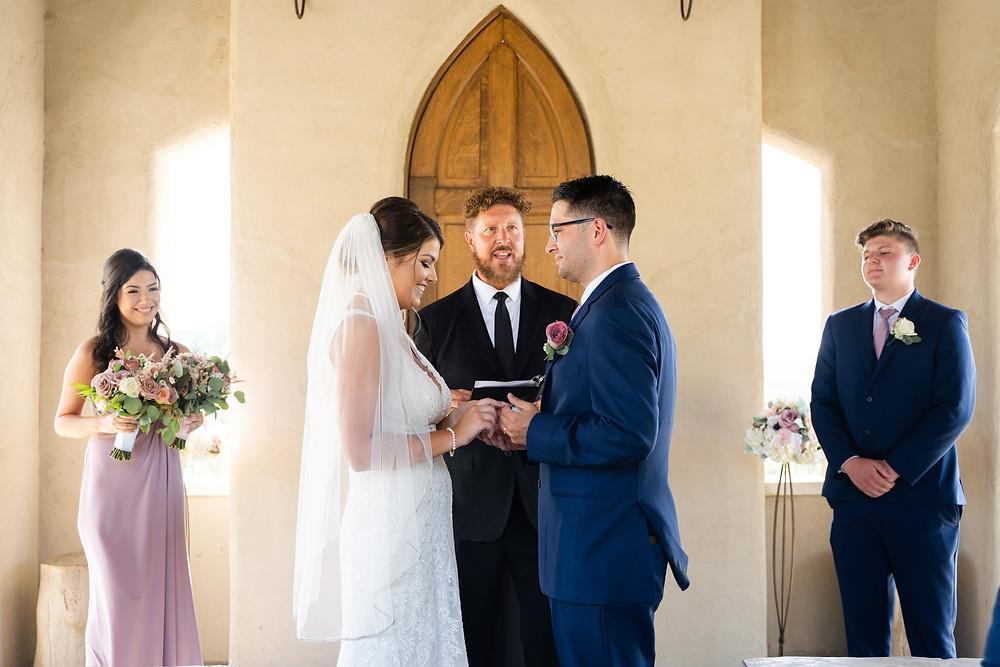 Christian bride and groom at church wedding in Austin, Texas.