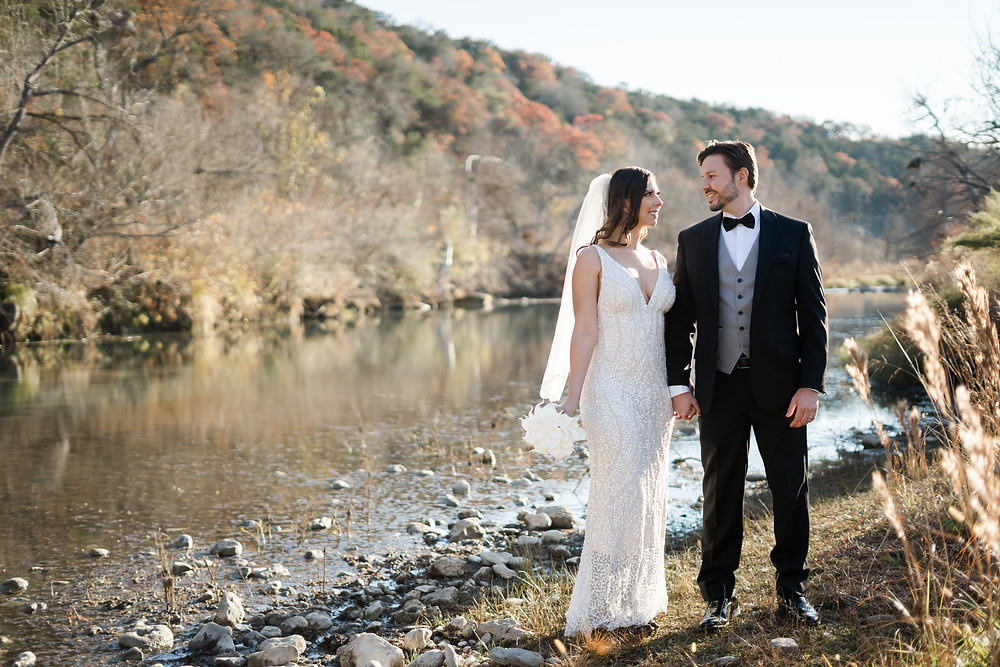 Bride and groom in Texas featured in wedding blog on how much wedding photos cost in Austin