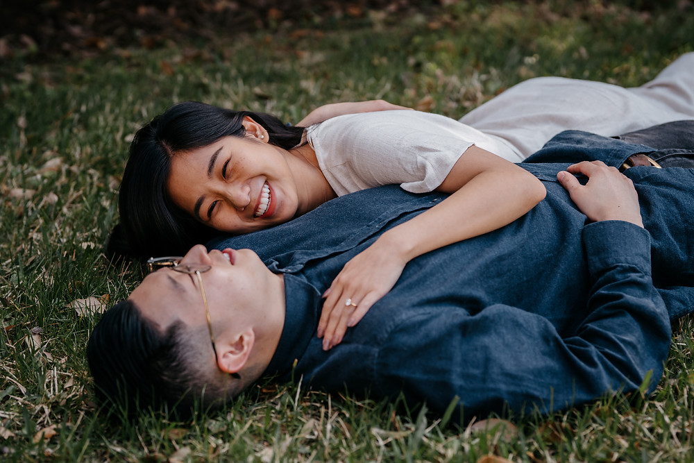 Outdoor park engagement photoshoot for engaged couple in Houston