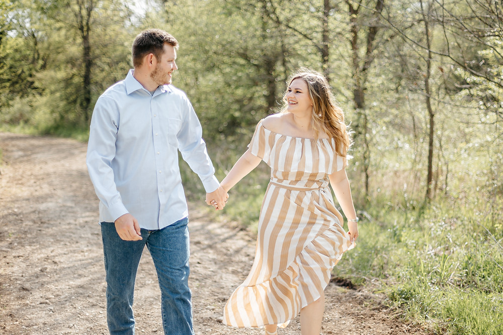Outdoor engagement photoshoot at Chapel Creek Ranch in Denton, Texas