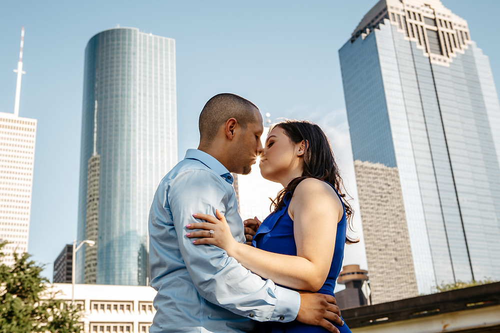Downtown Houston engagement photo and inspiration for best photoshoot locations in Houston