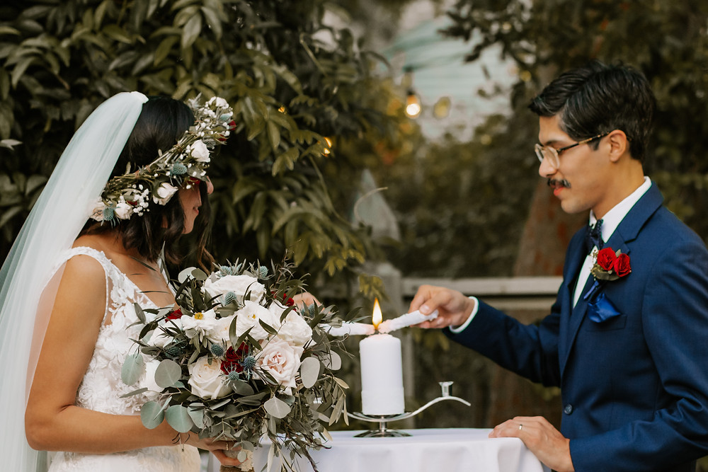 How to incorporate wedding prayers for a religious couple, featuring photos from a wedding in Houston, Texas.