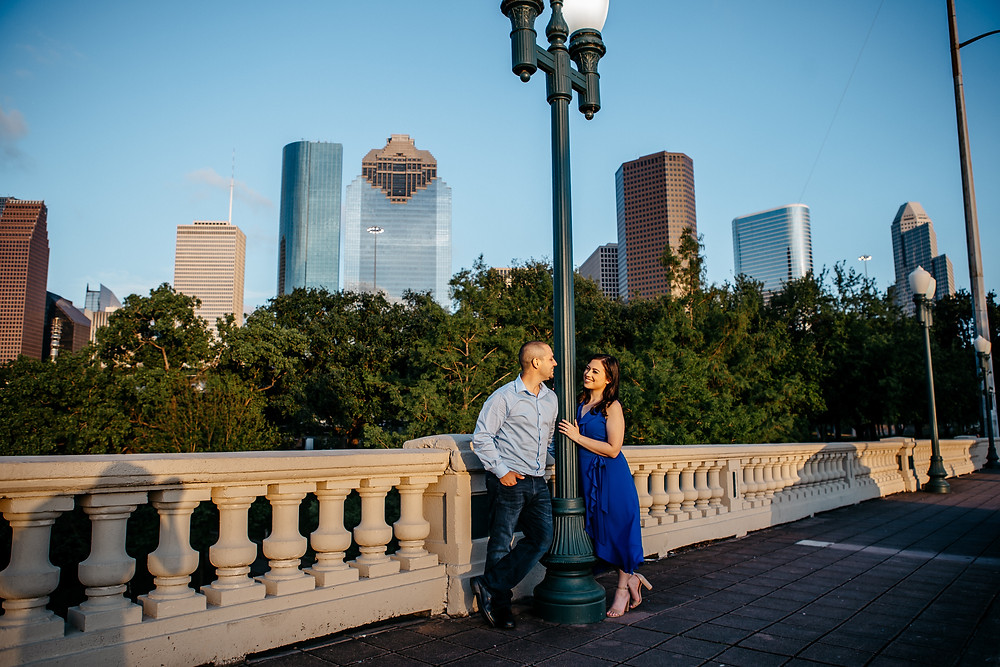 Where to take engagement photos in Houston, featuring the downtown Houston skyline