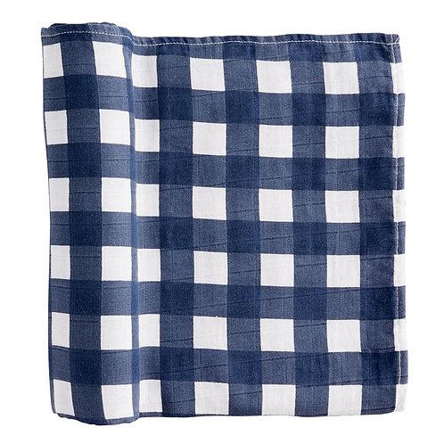 Navy Gingham Muslin Swaddle Blanket