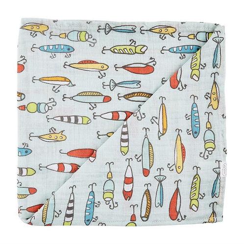 Fishing Muslin Swaddle Blanket