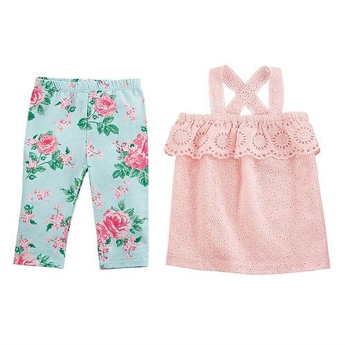 Rose Eyelet Tunic & Capri Set