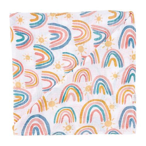 Rainbow Muslin Swaddle Blanket