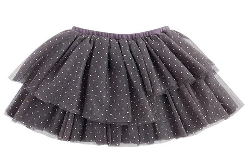 Gray & Gold Dot Tiered Mesh Tutu