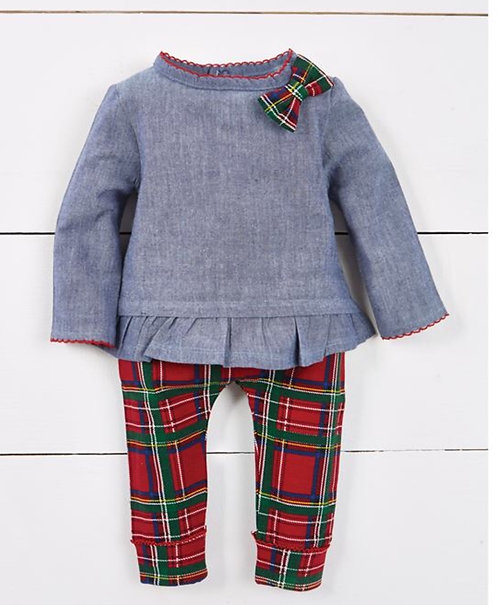 Chambray Tartan Plaid Tunic & Legging Set