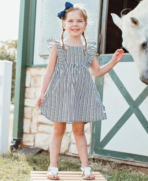 Navy Stripe Ruffle Dress