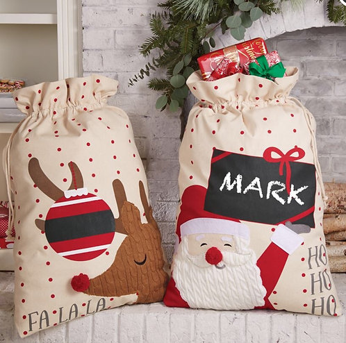 Holiday Canvas Personalizable Sacks