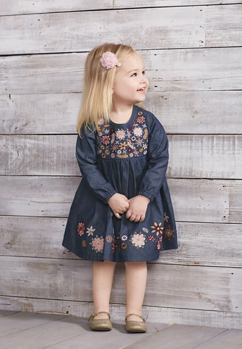 Chambray Embroidery Dress - Infant
