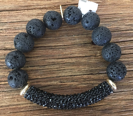 Jam Jewels - Black Lava Bar Bracelet